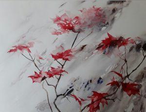 feuilles-rouges–aquarelle-sur-feuille-fabriano-artistico
